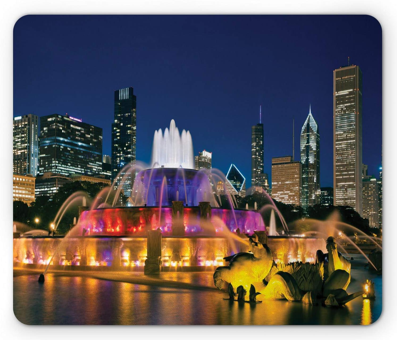 Ambesonne Chicago Skyline Mouse Pad, Buckingham Fountain Landmark in The Center of Grant Park Vibrant Night, Rectangle Non-Slip Rubber Mousepad, Standard Size, Night Blue