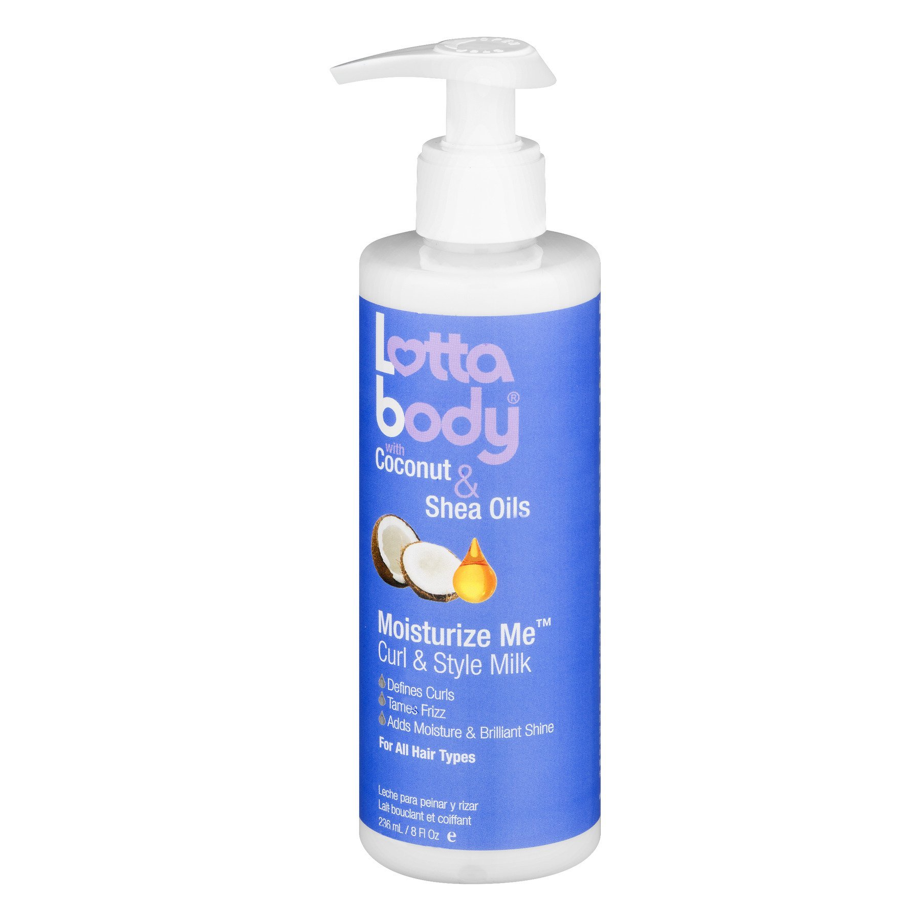 Lotta Body Coconut and Shea Oils Moisturize Me Curl and Style Milk, 8 Ounce