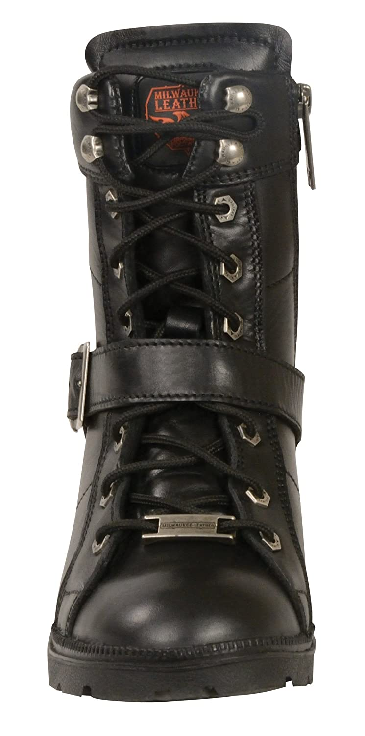 Milwaukee Womens Boots with Lace Front and Zip Closure Black, Size 6.5