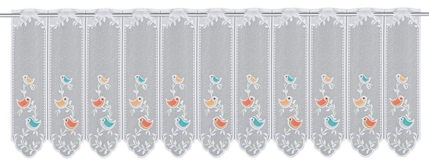 Charming Sweet Birds Cafe Net Curtain Kitchen Curtain with Eyelets–Delicate Voile Fabric with Funny Colourful Birds–Transparent Height/W 50x150) Window Curtain Cafe net curtain–a Gem in Every Kitchen/from the Kamaca Shop KAMACA-SHOP