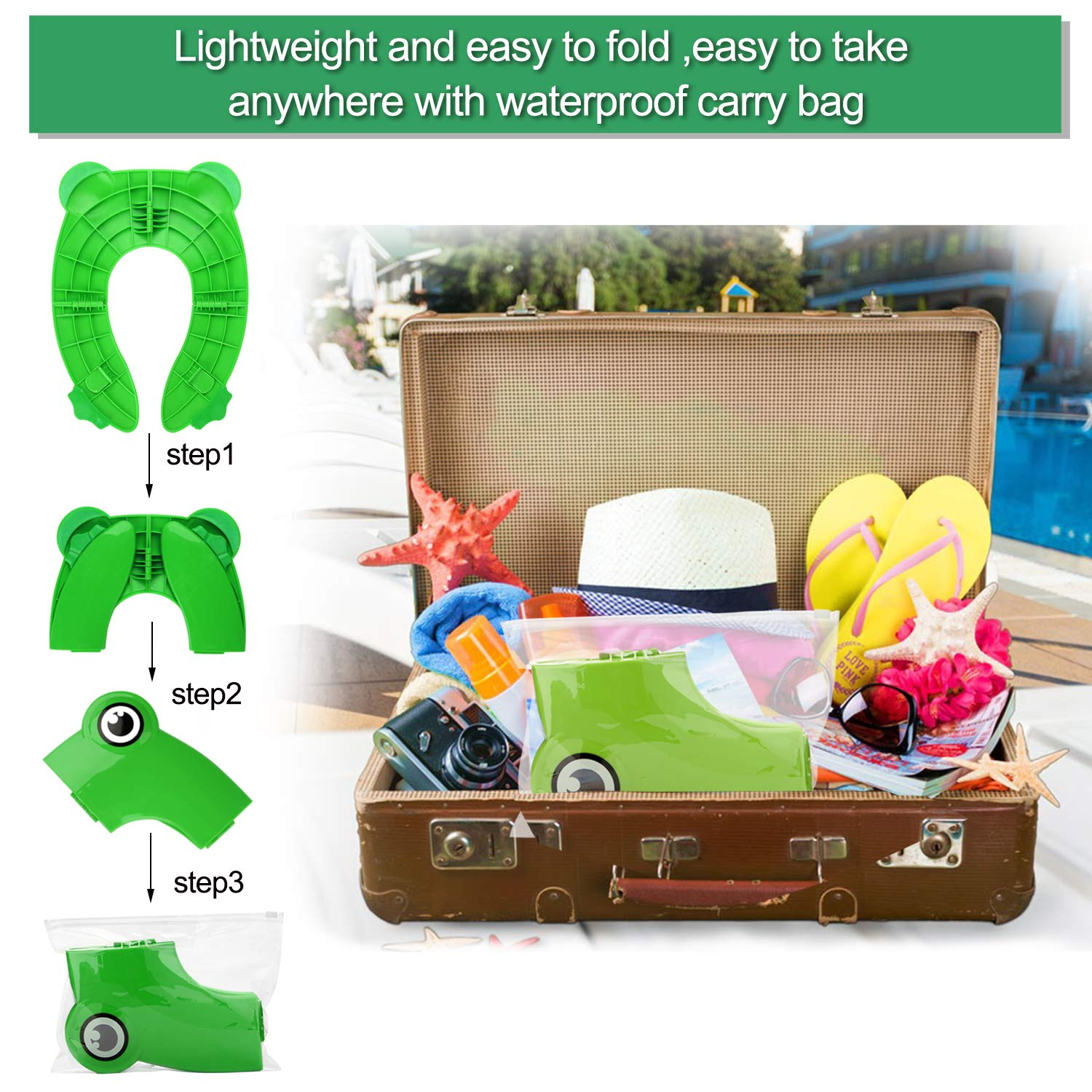 Toddlers and Kids Green Folding Potty Training Seat for Kids FITNATE Upgrade Portable Reusable Potty Training Seat Cover Large Non-Slip Pads With Carry Bags for Babies