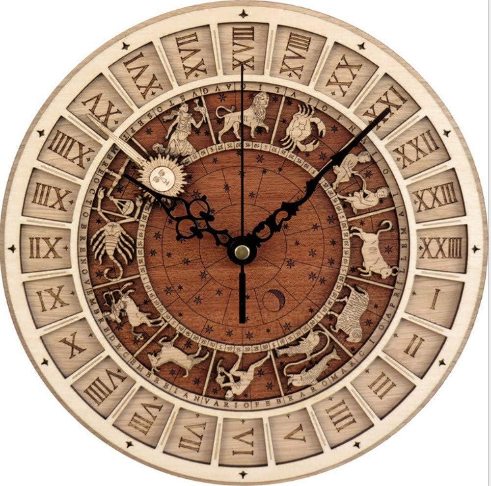 Reloj de pared de doce constelaciones, reloj de pared de madera astronómica de Venecia, silencio silencioso, batería de cuarzo, fácil de leer para el hogar / oficina / escuela / cocina /