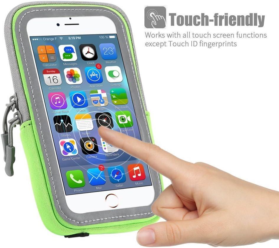 compatible con tel/éfonos m/óviles de hasta 16,5 cm Brazalete deportivo para correr con m/últiples bolsillos con cremallera para iPhone XR XS Max iPhone 8//7//6 Plus Samsung S9 S10 Plus