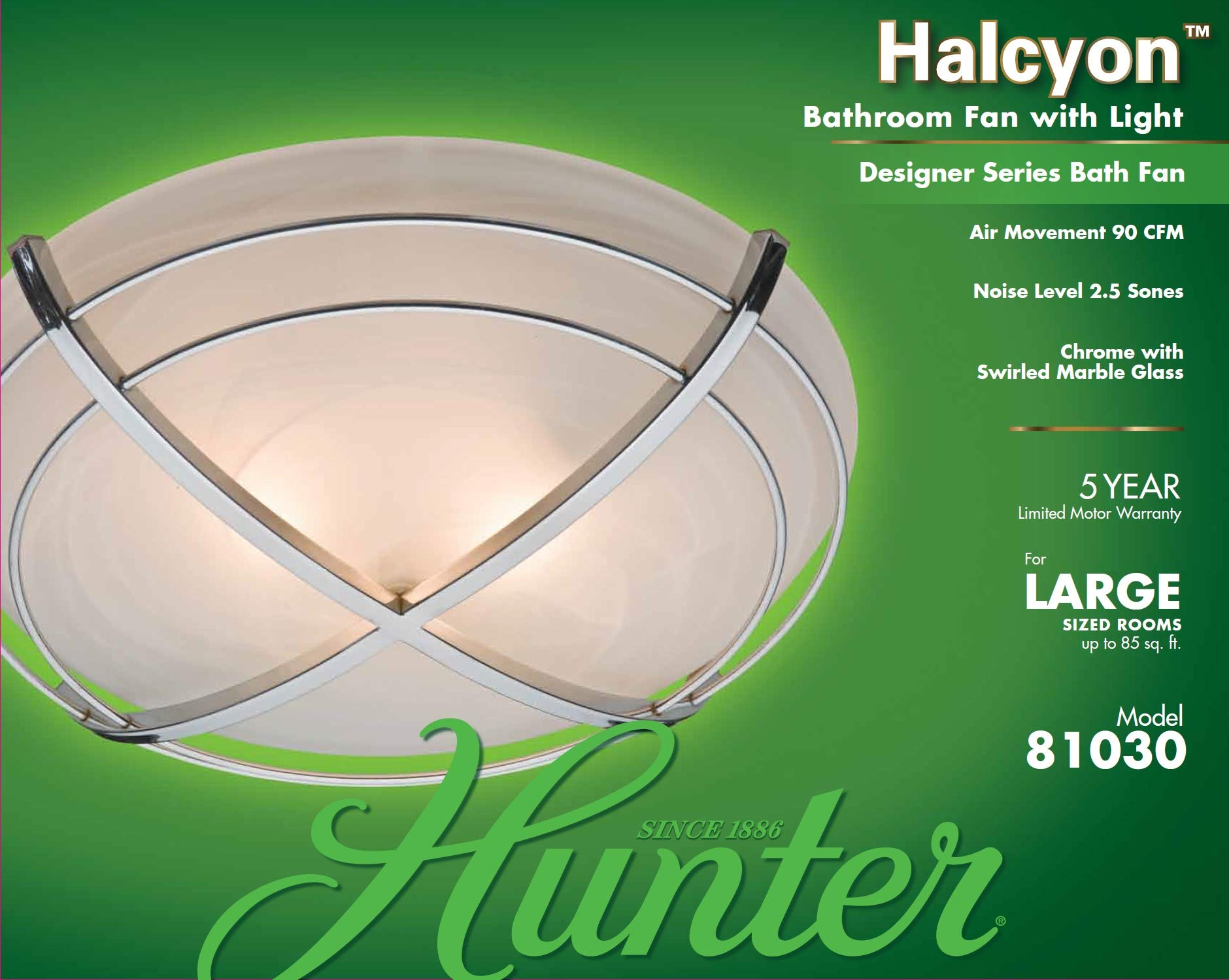 Hunter 81030 Halcyon Bathroom Exhaust Fan and Light in Contemporary Cast Chrome by Hunter Home Comfort (Image #5)