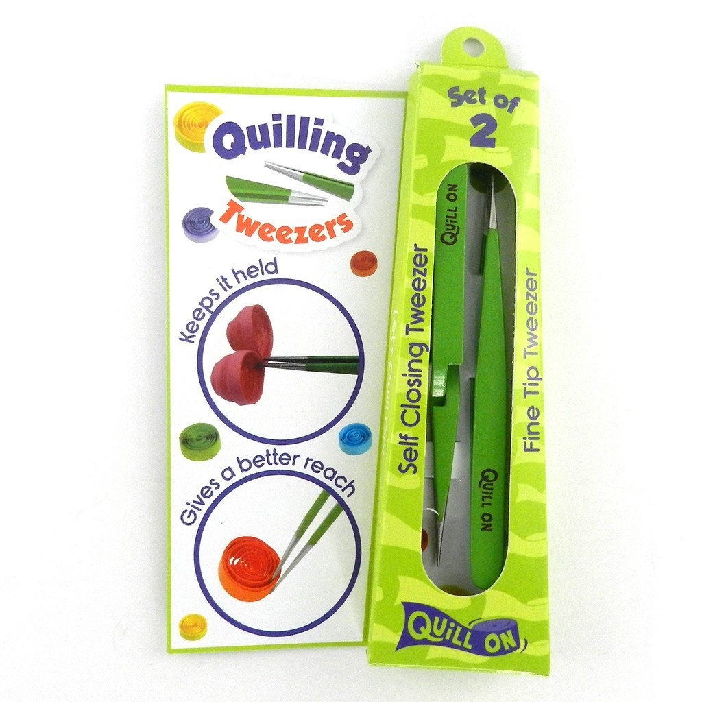 Quill On-Quilling Tweezers Quilling Tools-Combo of Fine Tip Tweezer and Self Closing Tweezer Set of 2 Essential Quilling Tool