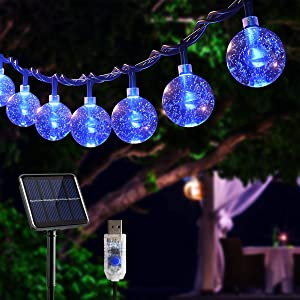 Blue String Lights Solar/USB Powered,23Ft 50 LEDs Crystal Globe Garden Fairy Lights with 8 Lighting Effects for Patio Yard Room Wall,Outdoor/Indoor Decor