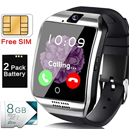 [Free SIM Card + 8GB TF ] Smart Watch for Men, Business Android Phone Smartwatch with Two-Way Call Music Player Camera Sync Function, Full Touchscreen ...