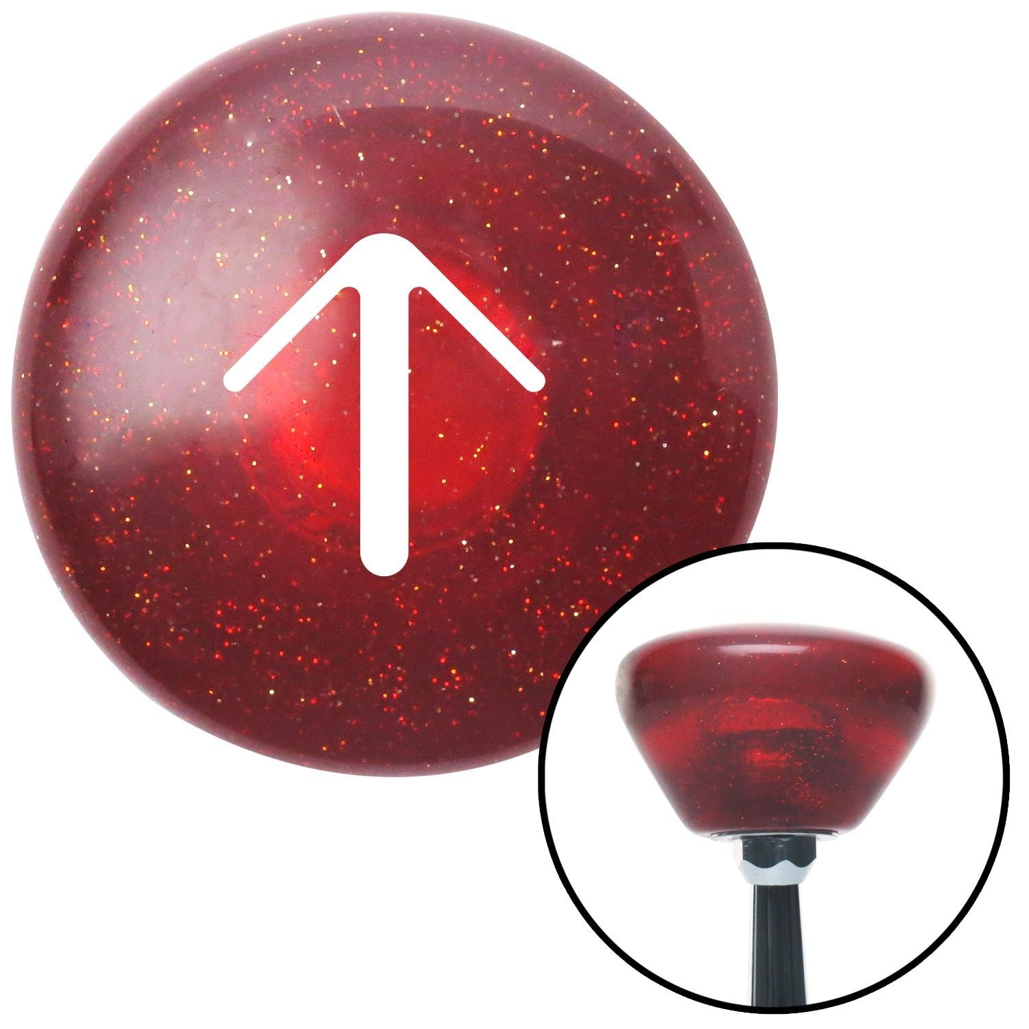 White Solid Pointing Arrow Up American Shifter 193474 Red Retro Metal Flake Shift Knob with M16 x 1.5 Insert