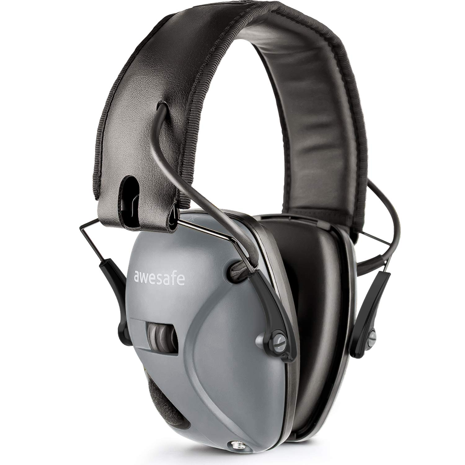 AWESAFE Electronic Shooting Earmuff, GF01 Noise Reduction Sound Amplification Electronic Safety Ear Muffs, Ear Protection, NRR 22 dB, Ideal for Shooting and Hunting, Grey …