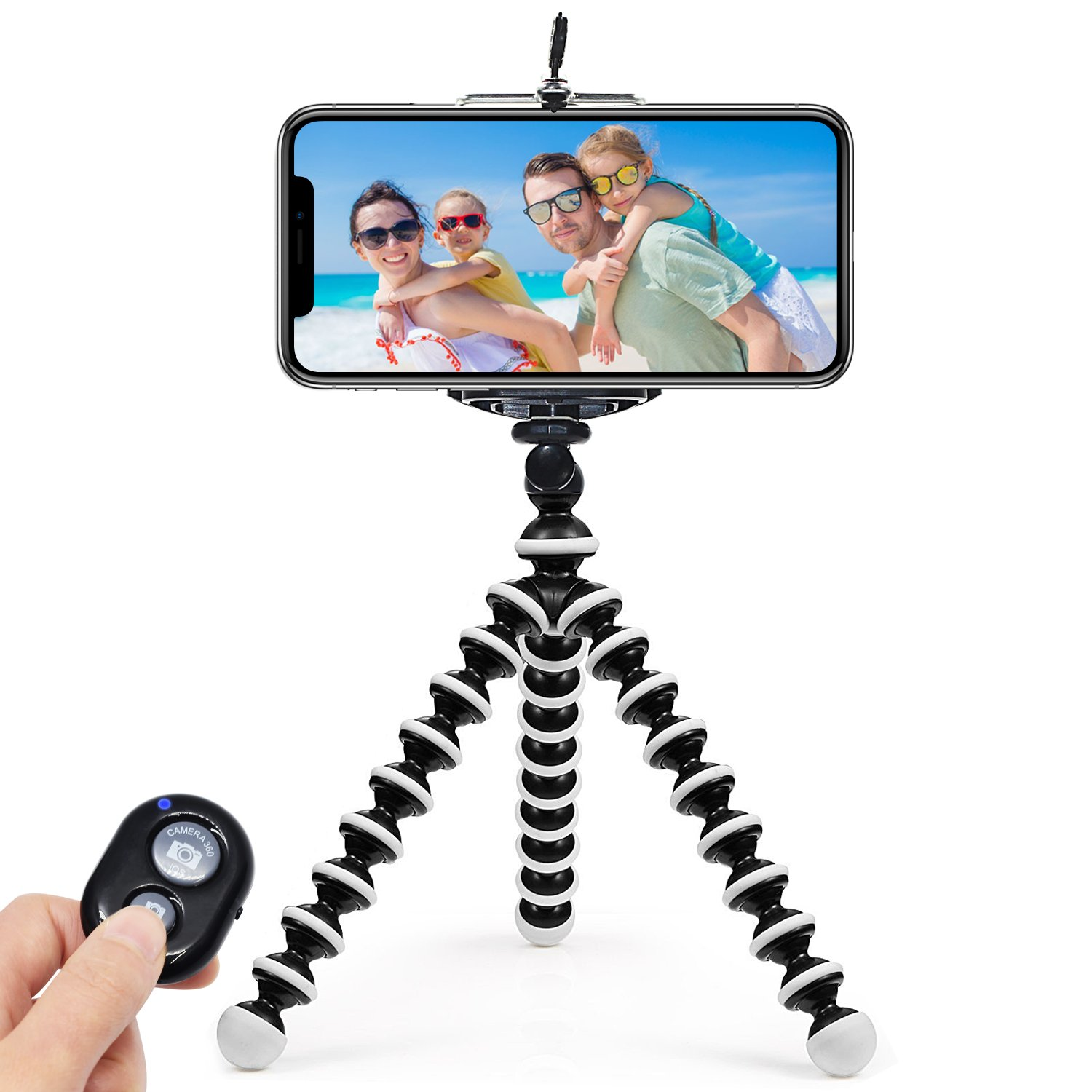 ARNIL iPhone Tripod Tripod for iPhone Portable and Adjustable Phone Tripod Stand Holder for iPhone, Cellphone, Camera with Universal Clip and Remote Shutter