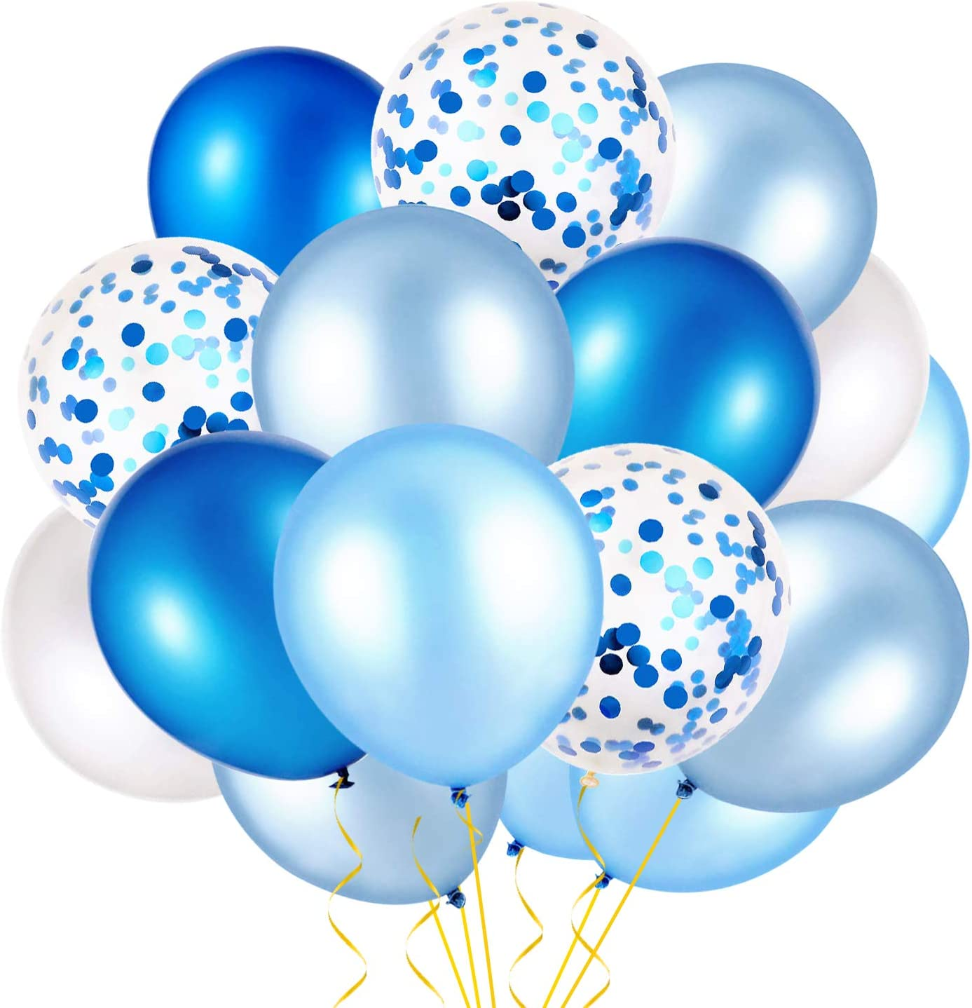 Konsait 50pcs 12 Inches Confetti Balloons Royal Blue Light Blue Baby Blue and White Latex Balloons Helium Balloons Party Supplies for Birthday Baby Shower Ocean Sea Shark Party Decoration