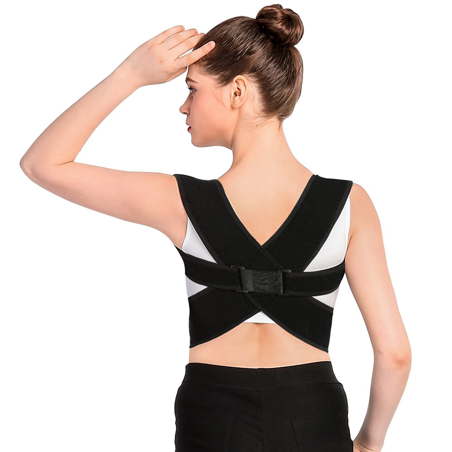 Posture Corrector Brace and Clavicle Support Straightener for Upper Back Shoulder Forward Head Neck Aid, Improve and Fix Poor Posture for Women Men (L(35''-48'' Chest))