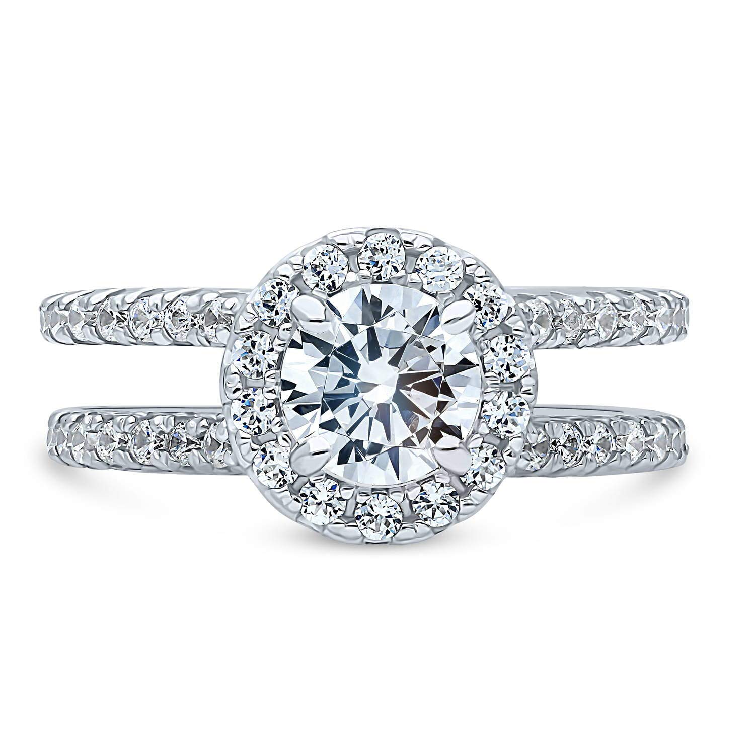 BERRICLE Rhodium Plated Sterling Silver Round Cubic Zirconia CZ Halo Engagement Ring 1.76 CTW