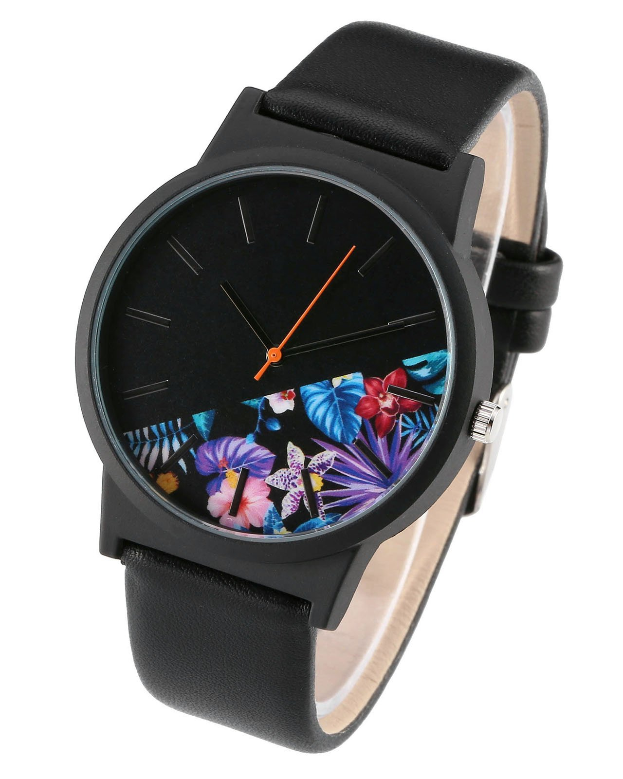 JSDDE Uhren,Vintage Klassische Blumen Armbanduhr Basel-Stil Damen Uhr PU Lederband Analog Quarzuhr,Schwarz