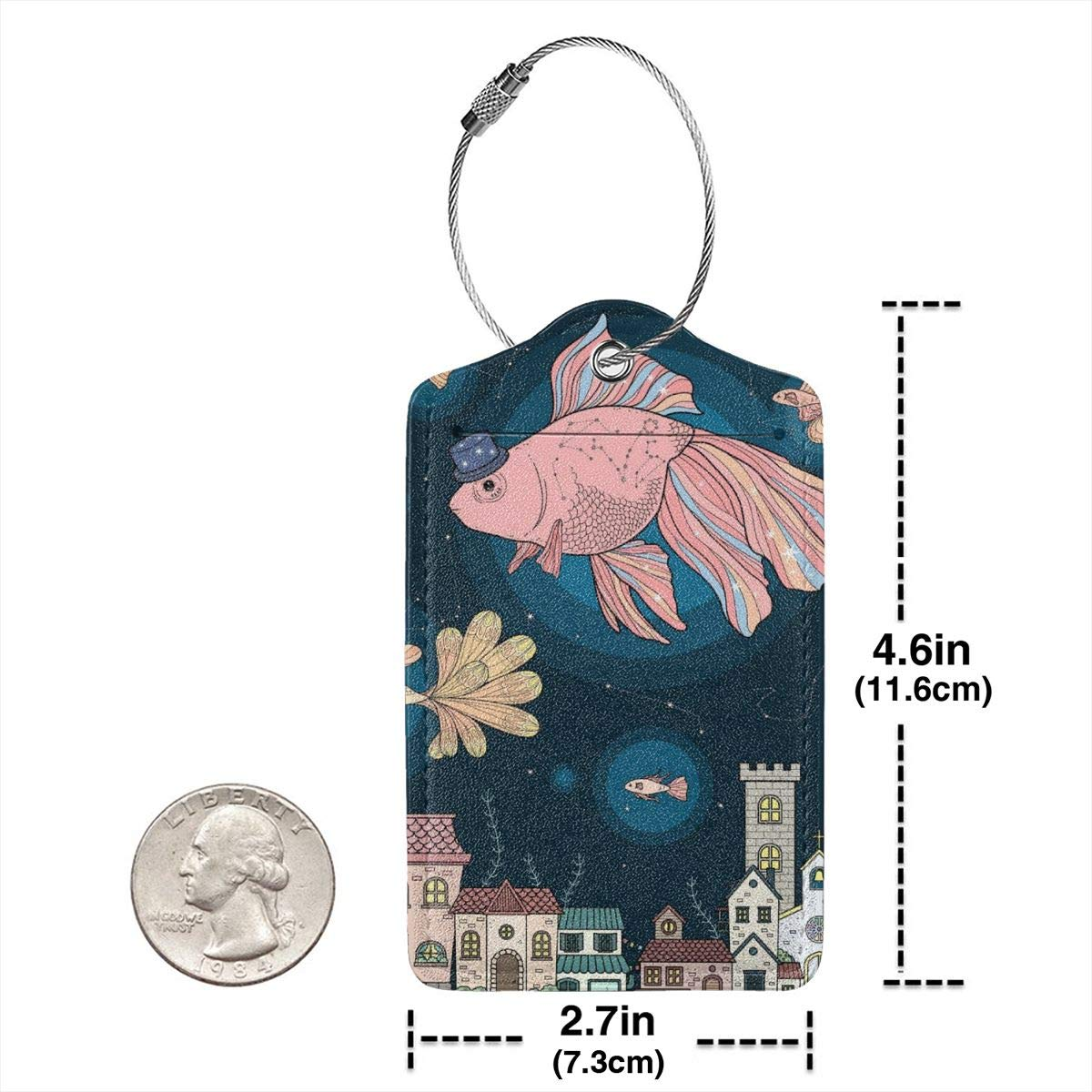 Leather Luggage Tags Suitcase Tags Art Drawings Bag Travel Accessories For Women 2 PCS