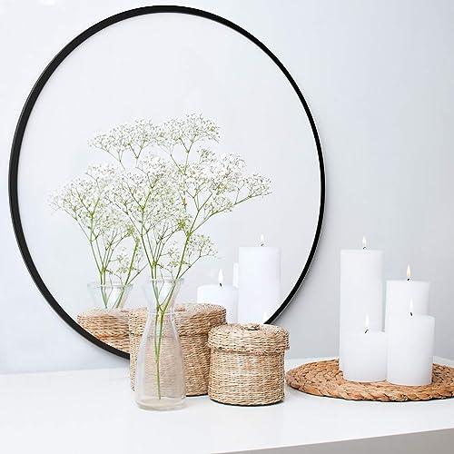 Barnyard Designs Large Round Circle Wall Mirror with Black Metal Frame, Decorative Mirror for Bathroom, Vanity, Home Decor, 30 x 0.5