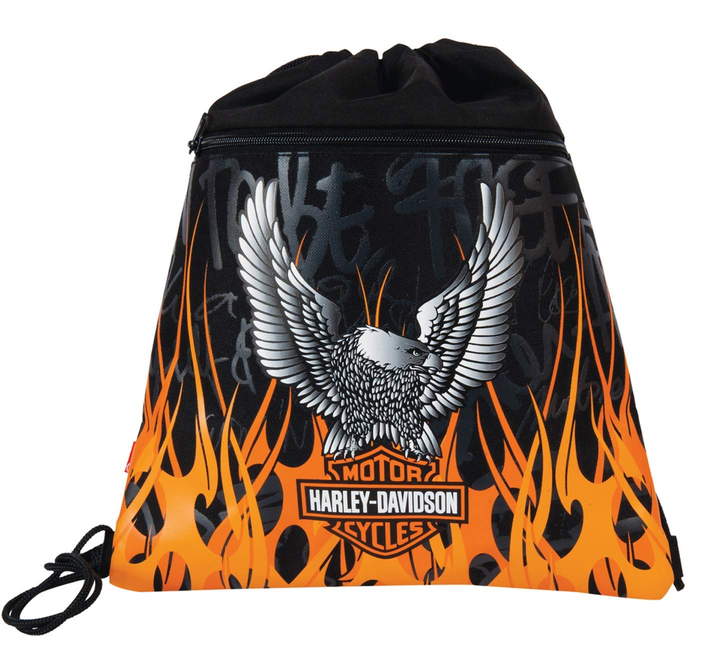 Harley-Davidson Bolso de Gimnasio, Color Negro/Naranja Harley Davidson 11-1989