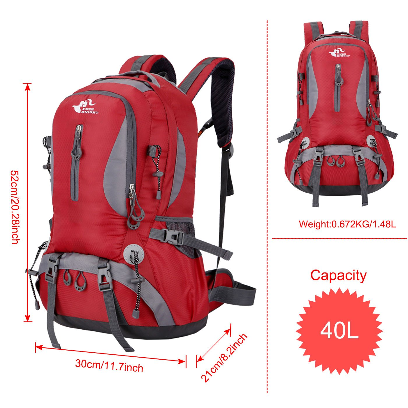 Mochila al Aire Libre de Gran Capacidad Mochila Impermeable de Senderismo Camping Paquete del Alpinismo Escalada Marcha Trekking 30 x 52 x 21 cm 40 L Free Knight