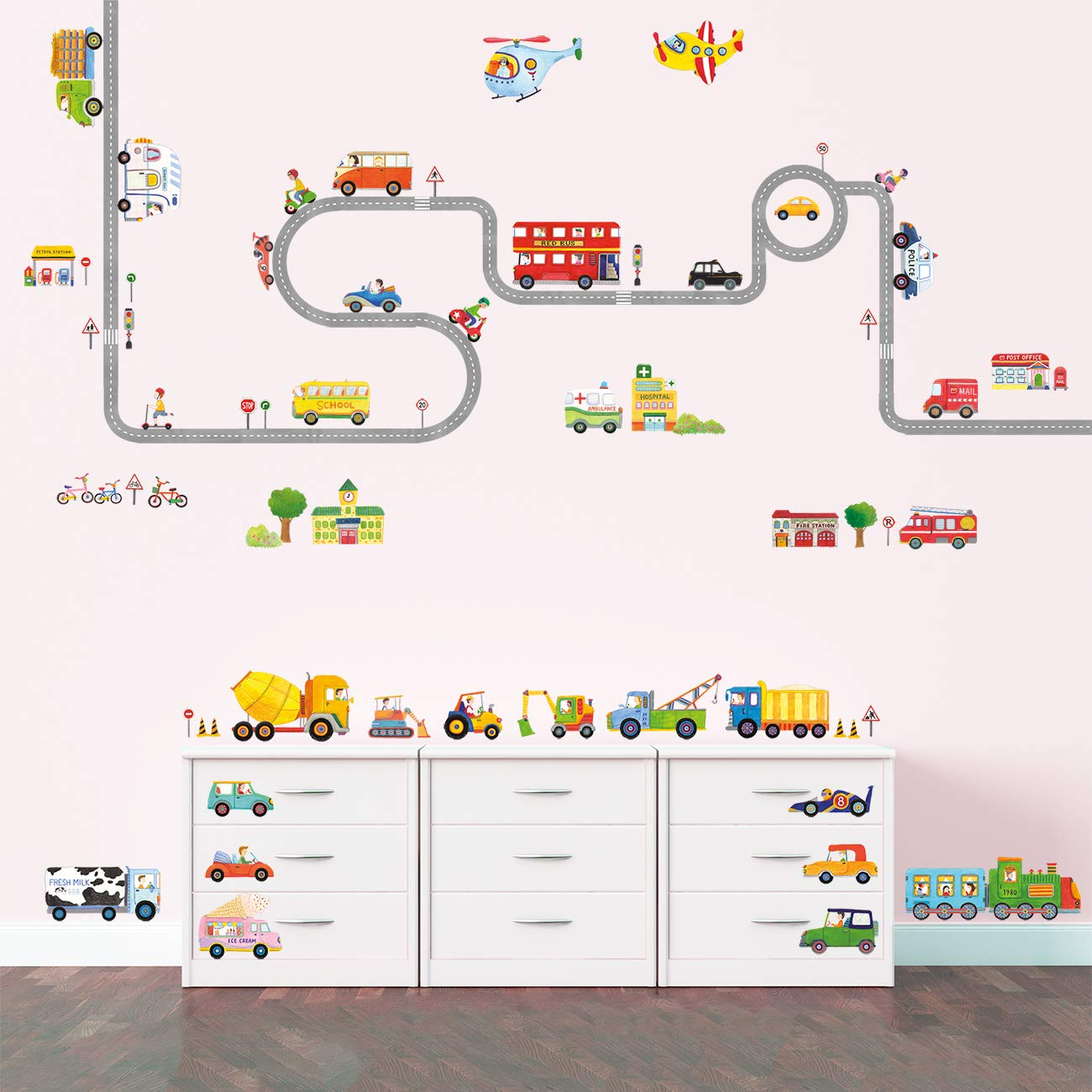 Decowall DAT-1404P1405 The Road and Transports Kids Wall Decals Wall Stickers Peel and Stick Removable Wall Stickers for Kids Nursery Bedroom Living Room by Decowall (Image #4)