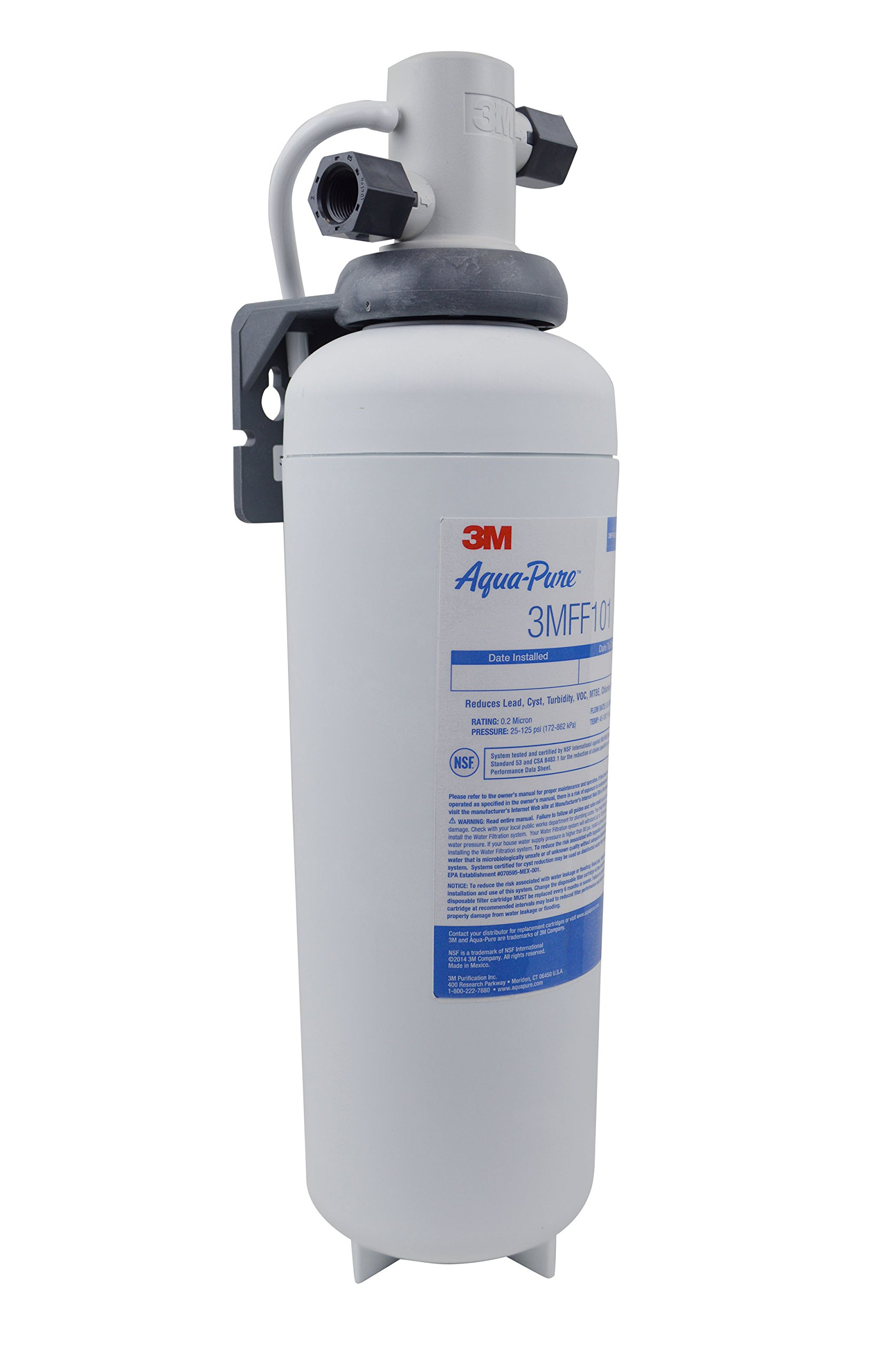3M Aqua-Pure Under Sink Full Flow Drinking Water Filter System 3MFF100, Sanitary Quick Change, Reduces Particulates, Chlorine Taste and Odor, Cysts, Lead, Select VOCs by 3M Aqua-Pure