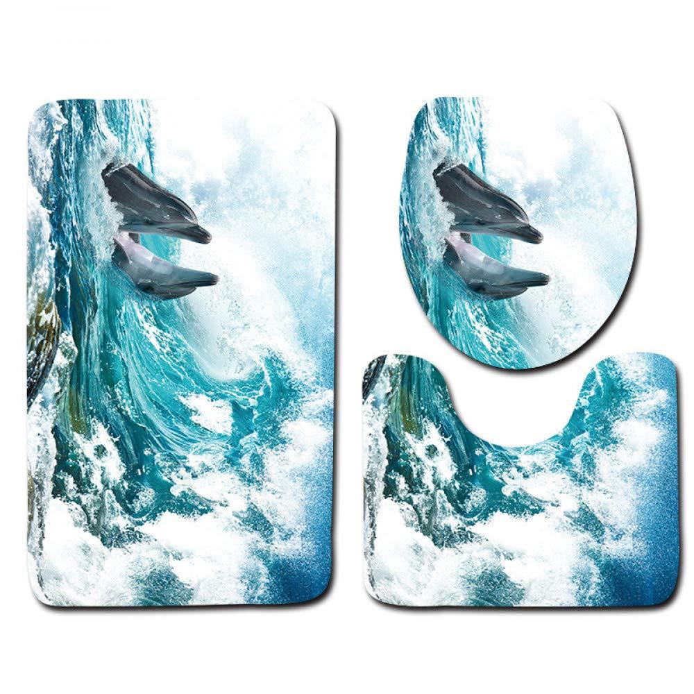 GMYANMTD 3D Fisch Gedruckt Badematte Sets 3 Stück Rutschfeste Mikrofaser Fußmatten Waschbar WC Bad Matten Bad Teppiche Fußmatten B07HF8WN5B Duschmatten