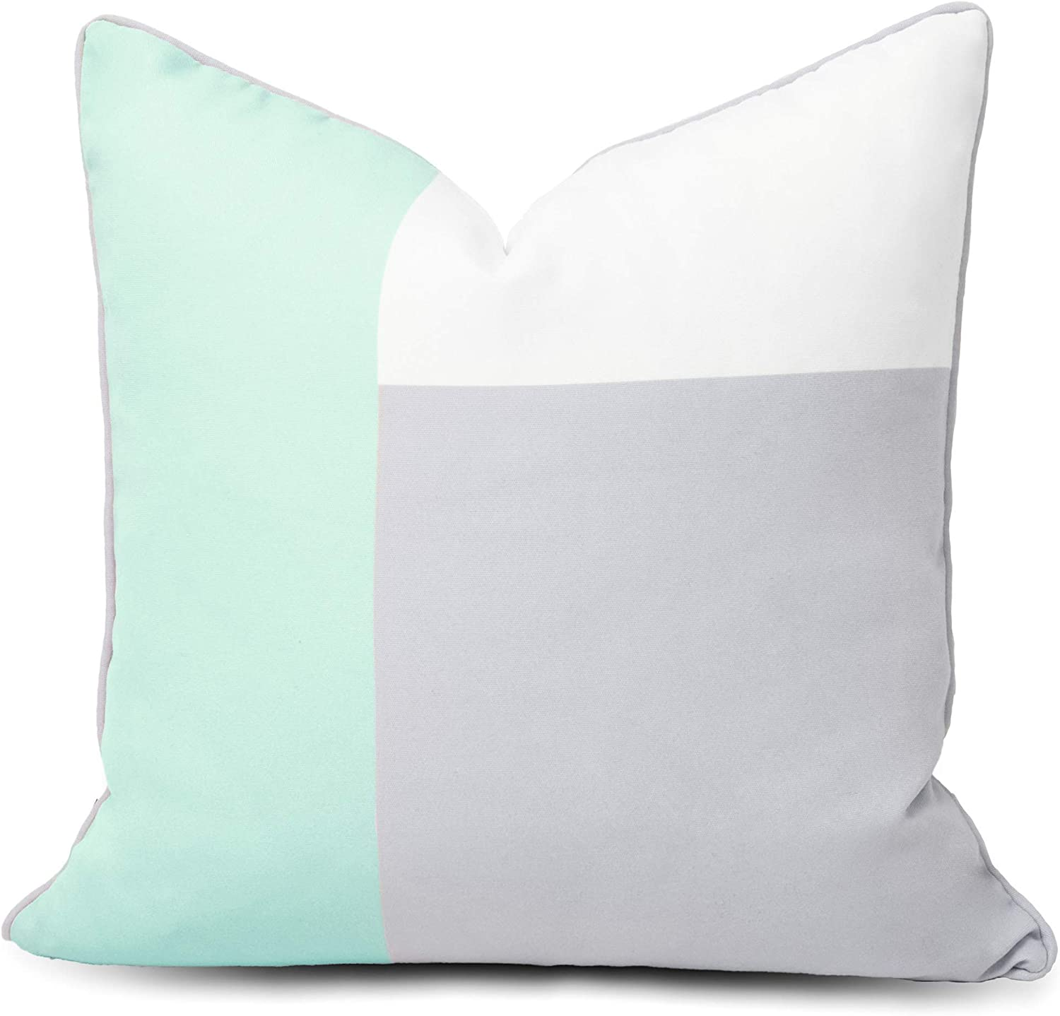 """Hofdeco Outdoor Patio Decorative Throw Pillow Cover ONLY Weather Water Resistant Canvas Color Block Aqua Opal Blue Grey White Triangel Rectangle 18""""x18"""""""