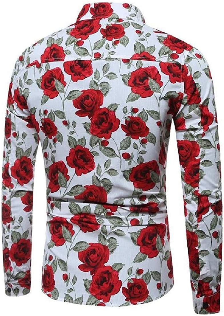 Conffetti Mens Long Sleeve Formal Tops Turn Down Printing Button Down Shirts