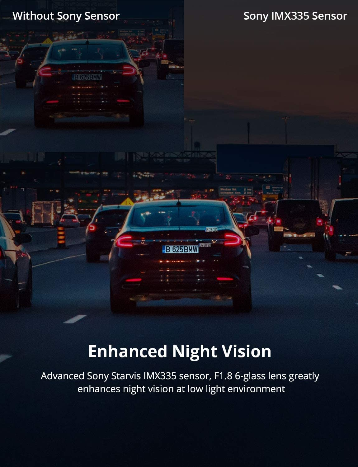 1440P/&1080P Front and Rear Camera for Cars 170 Degree Driving Recorder with Sony Starvis Sensor Night Vision G-Sensor Parking Mode Support 128GB Max Kingslim D2 2.5K Dual Dash Cam