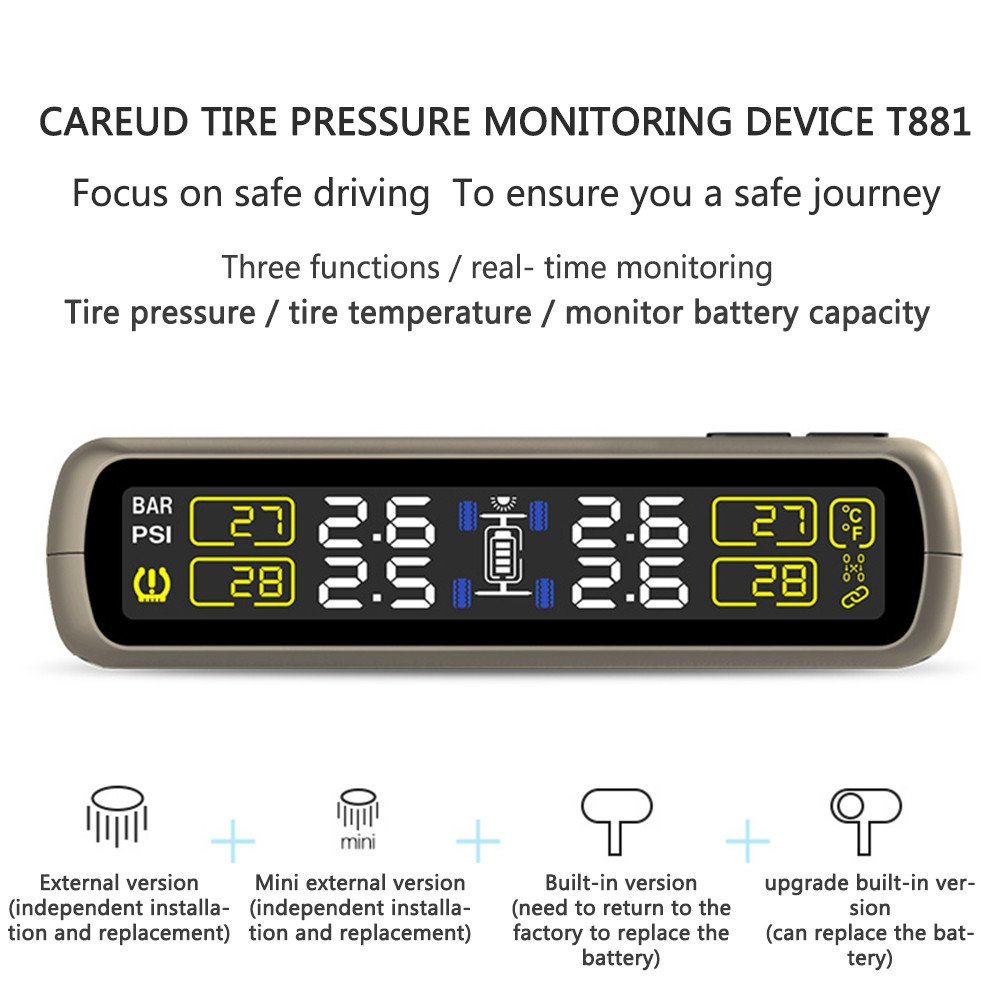 Catinbow TPMS Tire Pressure Monitoring System, Solar Power Tire Pressure Gauge with 4 Internal Sensors Automotive Wireless Connection Real-Time Tire Pressure Monitor for Vehicle (Black) by Catinbow (Image #6)