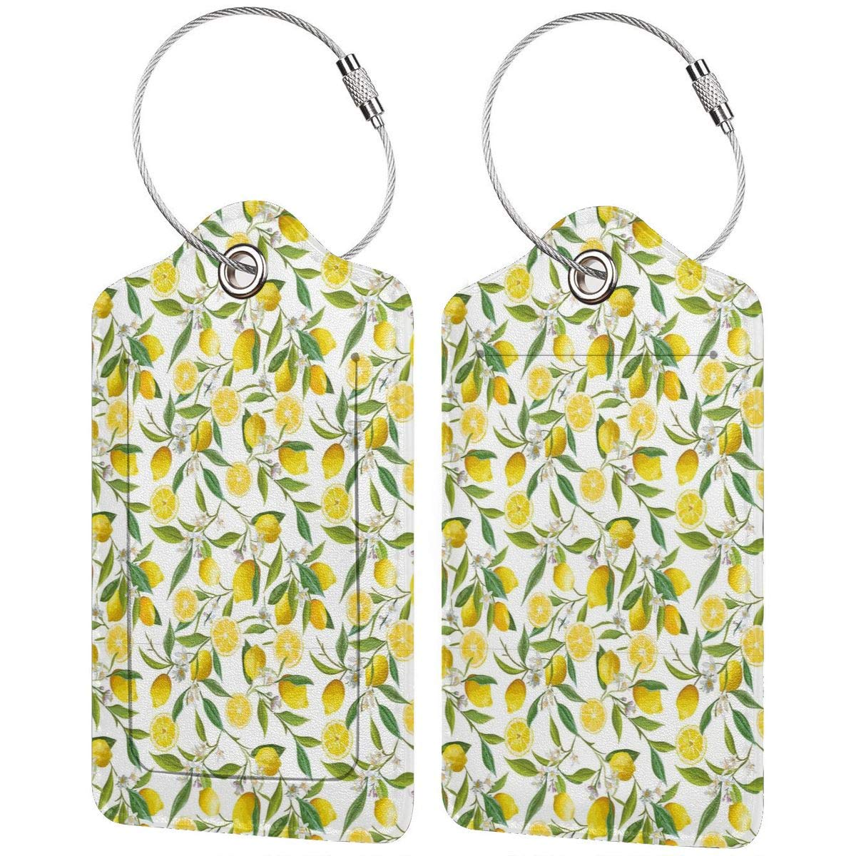 Key Tags for Backpacks Travel Bags Gift Lemon Tree 2.7 x 4.6 Blank Tag Leather Luggage Tags Full Privacy Cover and Stainless Steel Loop 1 2 4 Pcs Set