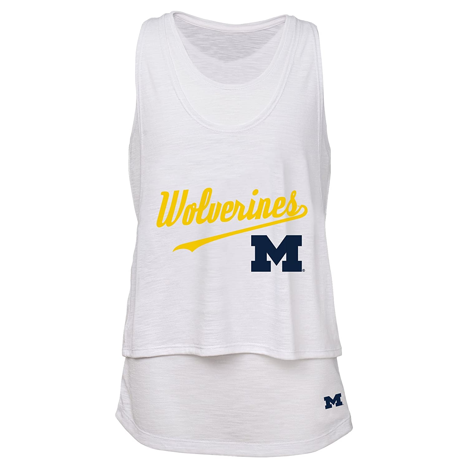 NCAA by Outerstuff NCAA Michigan Wolverines Juniors Double Tier Layered Tank White 0-1 X-Small