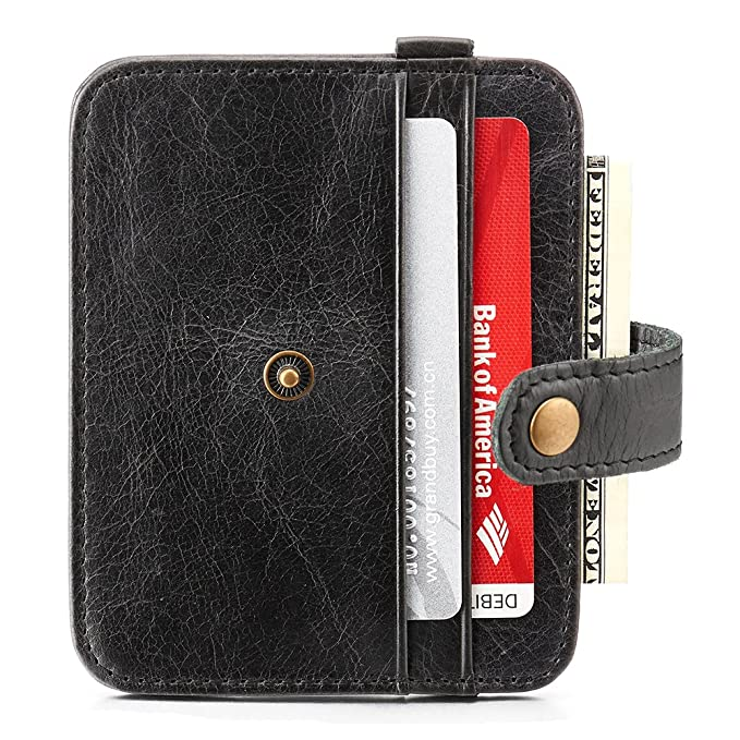 d5d5abb62ac1 Leather Slim Compact Wallet, Credit Card Case Money Cash Holder ...