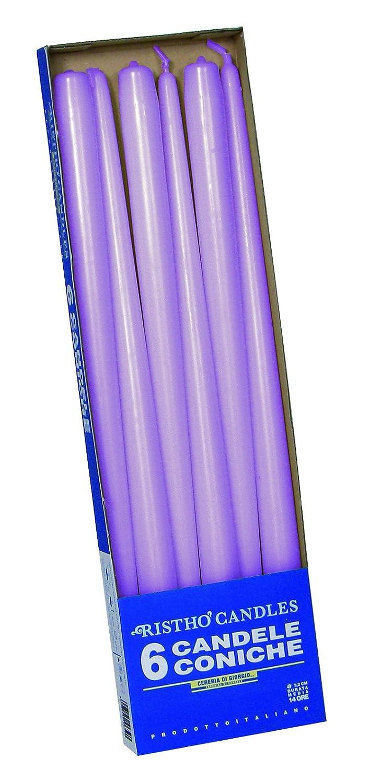 Cereria de Giorgio risthò Bougies Coniques pour bougeoir, Cire, Violet Clair, 2.2x 40cm, 6unités Cereria di Giorgio 56214_71