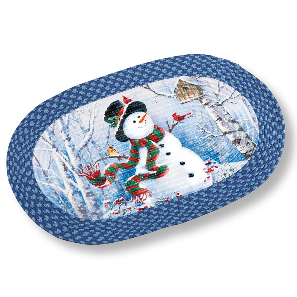 Collections Etc Braided Christmas Rug with Woodland Snowman Winston Brands