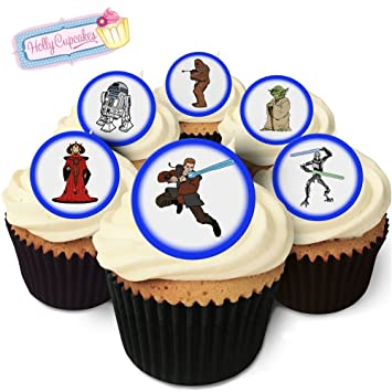 24 Edible Pre Cut Wafer Cake Toppers Blue Star Wars Amazoncom