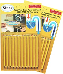 Siner Drain Cleaner Sticks, Sink Deodorizer As Seen On TV, Sink Freshener Cleaner Sticks to Keep Odor Free for Bathroom, Kitchen, Toilet, Shower drain (Lemon, FBA)