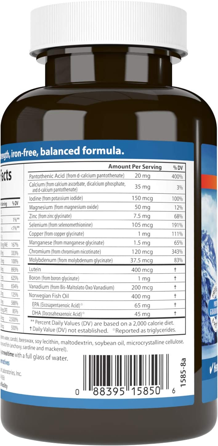 Carlson - Multi + Omega-3, Fish Oil with Vitamins & Minerals, Heart Health, Cognitive Function & Optimal Wellness, 60 Softgels