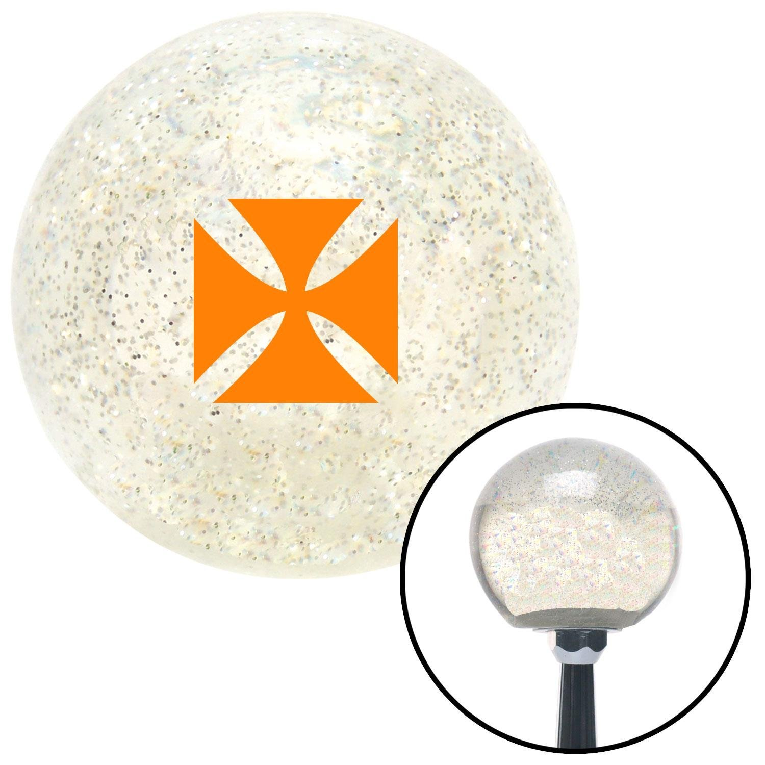 American Shifter 277308 Shift Knob Company Orange Cross Maltese Clear Metal Flake with M16 x 1.5 Insert