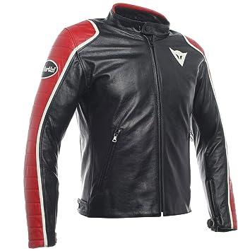 Dainese Speciale para Hombre Piel Moto Chaqueta Negro/Rojo ...