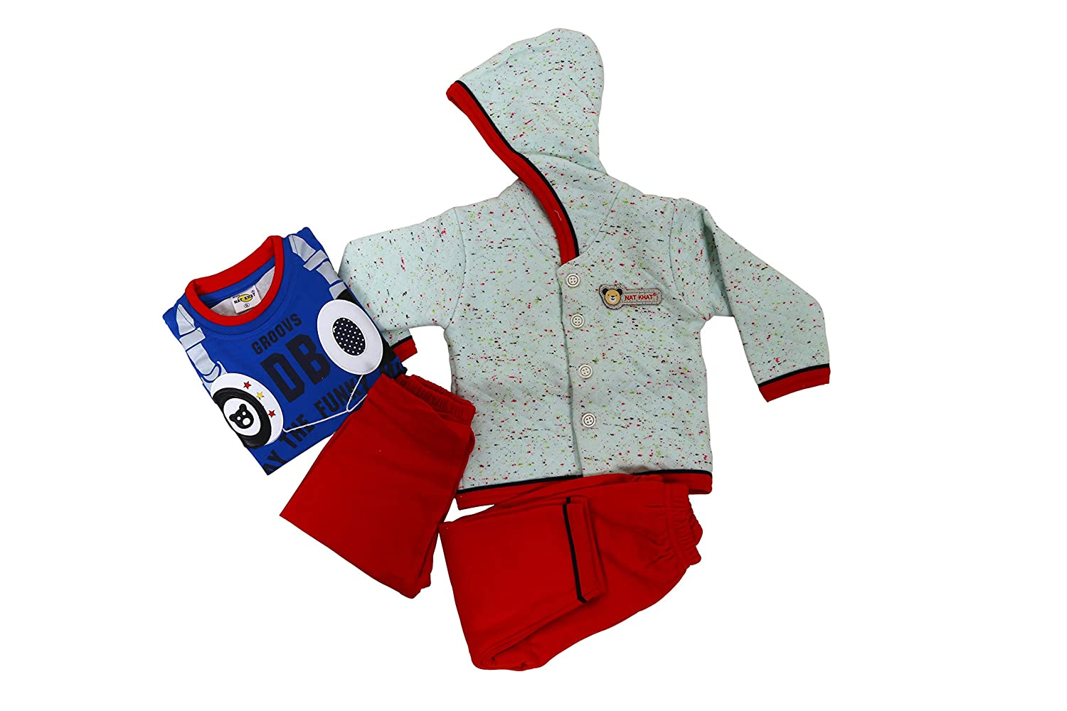 Baby Kid's Cotton Combo Pack of 2 Clothing Set for New Born Bay (2 Top and 2 Bottom) (Multicolor,0-3 Months)