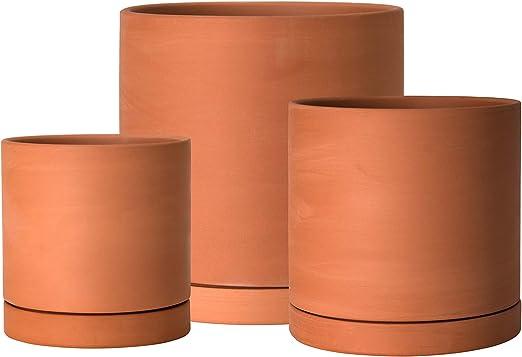 Maceteros para plantas y flores color terracota cm H 15/x D 21/6/unidades