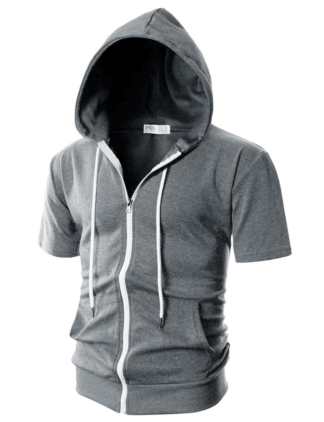 Ohoo Mens Slim Fit Short Sleeve Lightweight Zip-up Hoodie with Kanga Pocket/DCF007-DEEPGREY-3XL