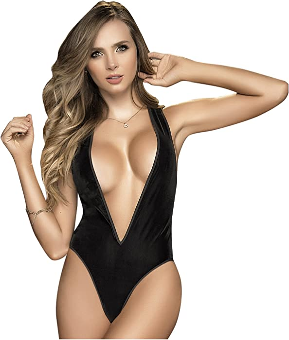 Amazon.com: Mapalé 8258 Sexy One Piece Lingerie Velvet Bodysuit for Women Ropa Intima Mujer: Clothing