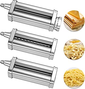 3 Piece Pasta Roller Cutter Attachment Set Compatible with KitchenAid Stand Mixers, including Pasta Sheet Roller, Spaghetti Cutter, Fettuccine Cutter Accessories and Cleaning Brush