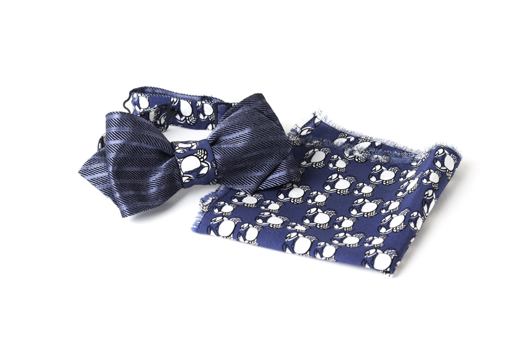 Bow Tie, Self Tie, Double Sided, Reversible, Pocket Square, Set, Men, Adjustable, Hook, Silk, Blue, Animal Print, Striped, One size, Italian Fabric, Italian Style, Handmade by Old Fashion Sartoria, Florence, Italy
