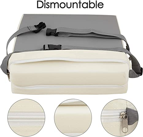 Waterproof Kids Infant Baby Toddler Booster Dismountable Highchair Cushion Portable Dining Chair Cushions Grey+Beige BTSKY PU Leather Chair Increasing Cushion with Buckle Strap