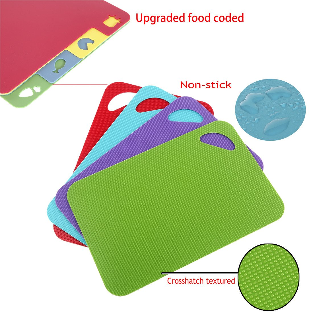 The item for sale is premier set of 5 coloured flexible chopping - Chopping Board Set Colour Coded Plastic Non Stick Non Slip Chopping Boards Set Of 4 Red Blue Green Purple Amazon Co Uk Kitchen Home