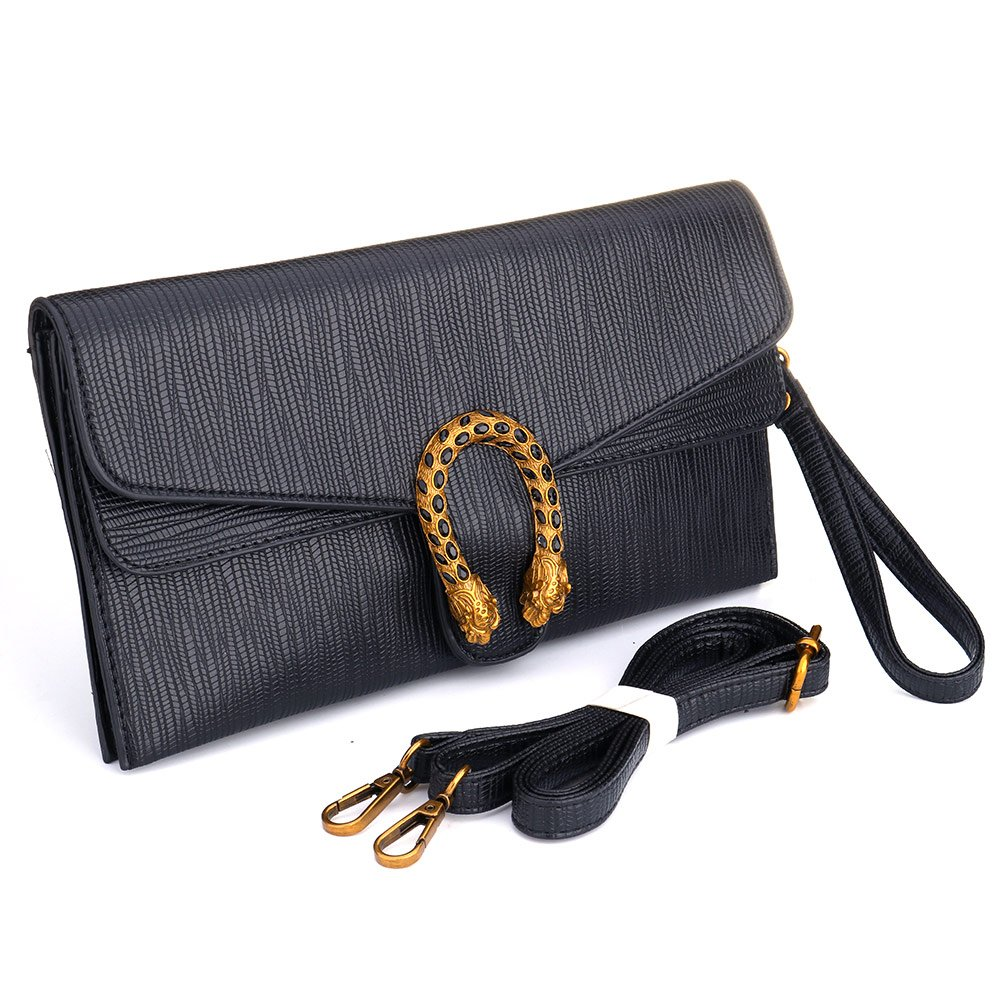 Leather Crossbody Purses Clutch Phone Wallets with Card Slots for Women (Black) by SSMY (Image #2)