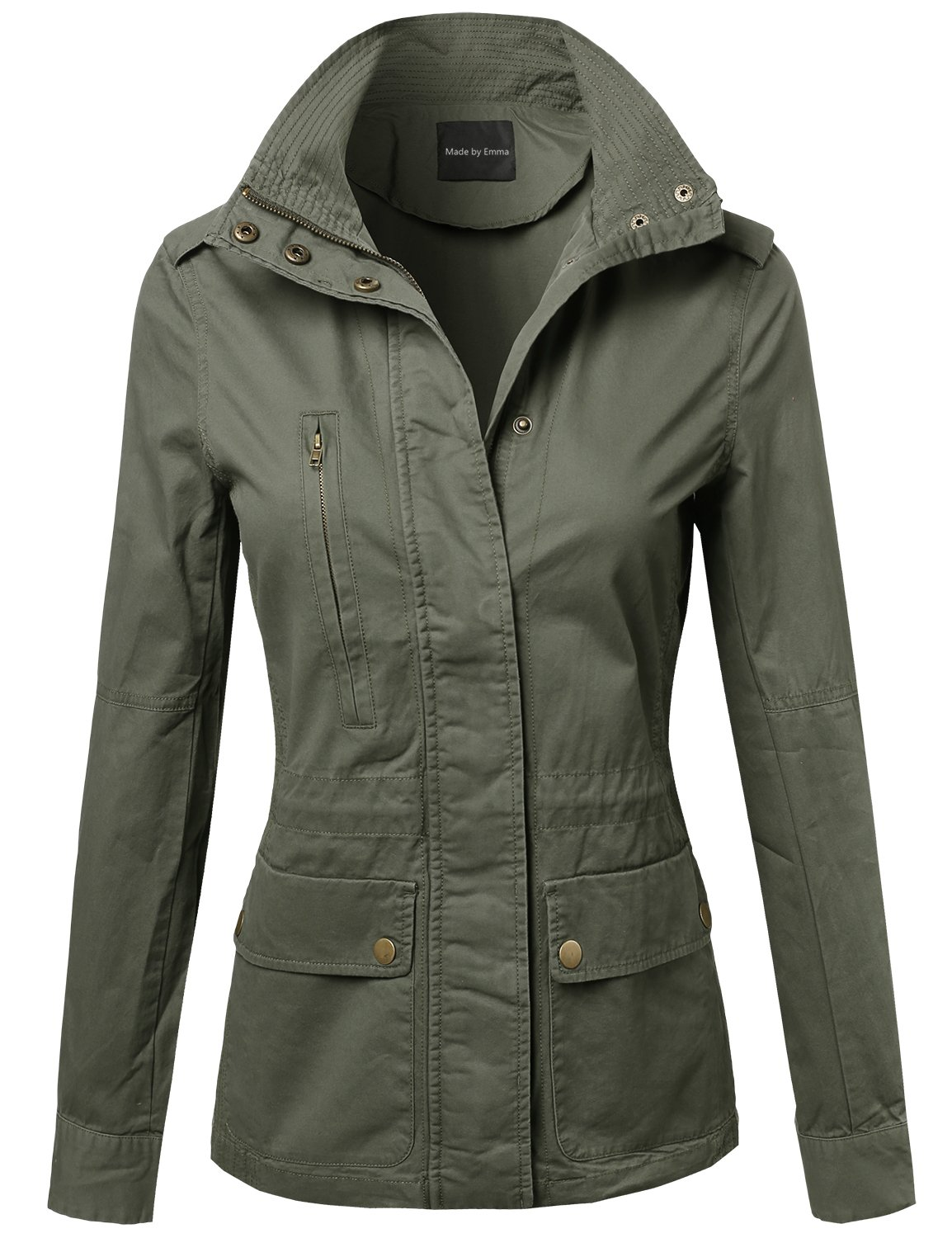 Made by Emma Military Style Zipper Snap Button Closure Jacket Olive 2XL