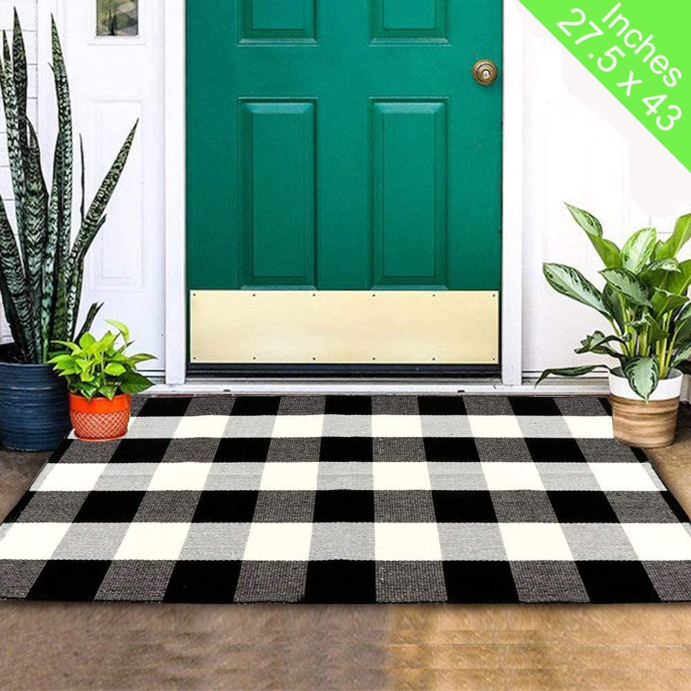 OurWarm Cotton Buffalo Plaid Rug Black and White Buffalo Check Outdoor Rug, 27.5 x 43 Inch Hand-Woven Washable Layered Door Mats for Front Porch Home Kitchen Bathroom Laundry Room Farmhouse Decor